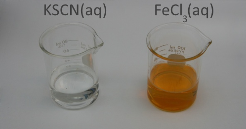 Potassium thiocyanate and iron(III) chloride